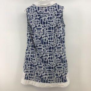 Tizzie Tops - Tizzie Womens Dress Blue/White Geometric Design Si